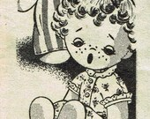Vintage Sock Doll PATTERN 7022 a 12 inch Boy & Girl with nightgown and pajamas PDF instant download