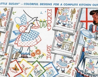 Vintage Embroidery a Reproduction Iron on Embroidery Transfer 105 Little Susan Sunbonnet girls for Days of the Week towels 1940s