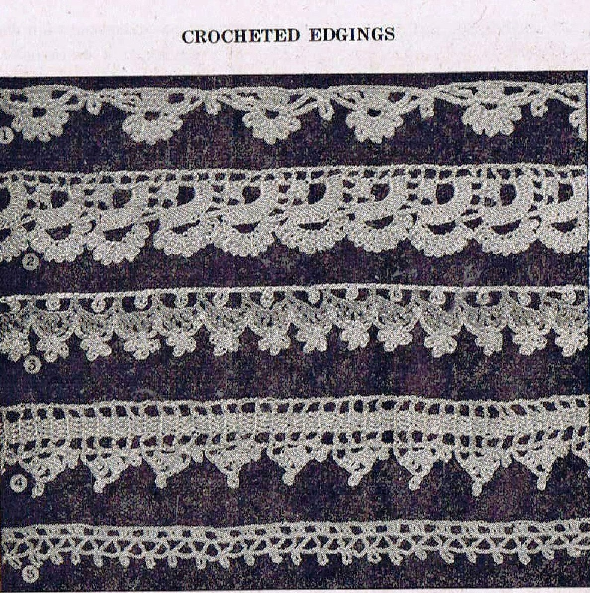 1940s crochet patterns five lovely edges florals scallops taken this is a digital file bankloansurffo Choice Image