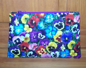 Pansy Flower Zippered Pouch