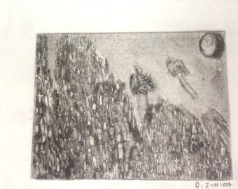 Graveyard shift Intaglio print