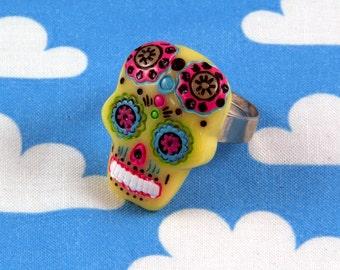 Sugar Skull Ring Pastel Yellow