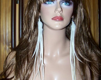 White Long Feather Earrings, Long Feather Earrings, Feather Earrings, Feather Extensions, Feather Extension Earrings, Single Earring