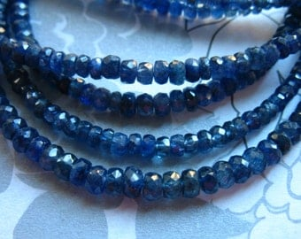 Sale..  5 10 25 pcs, SAPPHIRE Rondelles Beads, Medium Blue, Luxe AAA, 3-4 mm, not dyed heat treated september birthstone tr nd 34