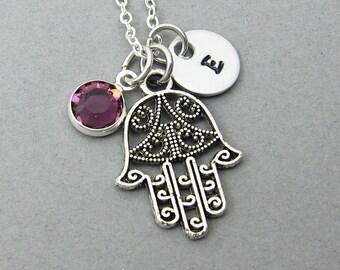 Hamsa Hand Necklace - Khamsa Amulet, Personalized Initial Name, Customized Swarovski crystal birthstone