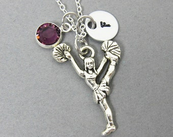 Cheerleader Necklace - Double sided front and back, Personalized Initial Name, Customized birthstone