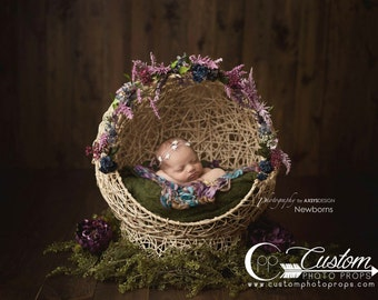 Newborn Poser Photo Props, Natural Globe to Sleep Newborn Baby Cabana Photography Prop, Baby Props, Wicker, Newborn Bed, Props for Babies