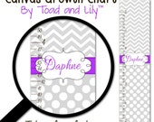 Canvas GROWTH CHART Grey and Purple Chevron and Dots Girls Bedroom Baby Nursery Wall Art Personalized Canvas Growth Chart GC0265