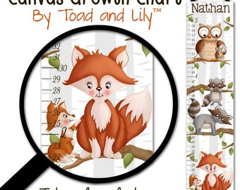 Canvas GROWTH CHART Mommy and Me Woodland Forest Critter Tales Animal Friends Kids Bedroom Baby Nursery Wall Art GC0008