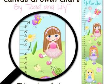Canvas GROWTH CHART Dollies in the Garden Flowers Butterflies Girls Bedroom Baby Nursery Wall Art GC0001