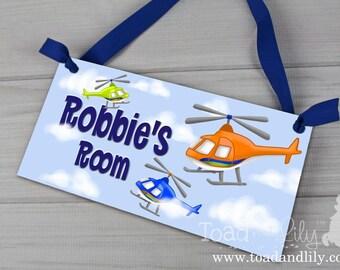 Kids DOOR SIGN Helicopter Blue Orange Lime Green Boys Personalized Door Sign Children's Bedroom Nursery Wall Art