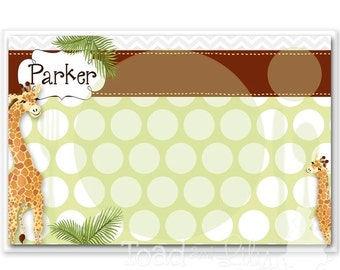 Kids PLACEMAT Giraffe Children's Personalized Wipe-able Place Mat Learn to Set the Table Laminated Kids Placemat with Name PLM021