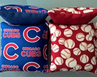 Chicago Cubs Baseball Cornhole Bags- FREE SHIPPING - Set of 8 Baseball Cornhole or Baggo Bean Bag Toss