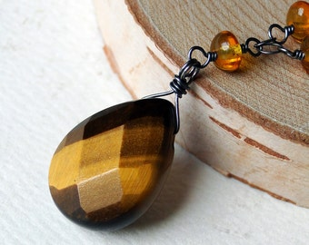 Tiger Eye Necklace with Amber and Pyrite on Oxidized Sterling Silver - Tyger by CircesHouse on Etsy