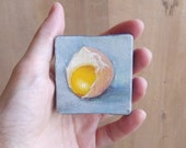 mini oil painting still life yolk egg  2x2 inches christmas in July