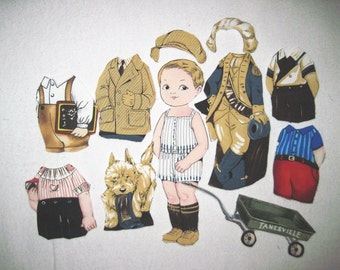 Fabric paper doll playset - Boy doll  Childs toy George Quiltsy handmade