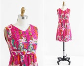 vintage 1960s dress / 60s dress / Hot Pink Indian Print Silk Mod Shift Dress
