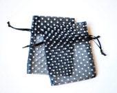 30 Polka Dot Organza Bags, 3x4 inch, Black with White Dots, Wedding Favors