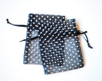 30 Polka Dot Organza Bags, 3x4 inch, Black with White Dots, Wedding Favors