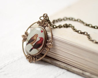 Love Bird necklace - Birds necklace - Love necklace - Gift for her - Vintage style necklace - Retro necklace - Heart necklace (N004)