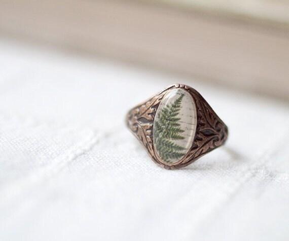 Botanical Ring - Green leaf (R037)