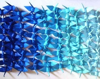 1000 Small Origami Cranes Origami Paper Cranes Origami Crane - Made of 7.5cm 3 inches Japanese Paper - 5 Blue Colors - Ready to Use