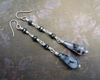 """Artisan Crafted Long Drop Earrings with Exotic Dendritic Agates, Faceted Hematite and Sterling Silver """"Gothic Soul"""""""