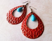 Rustic Urban Oversized Gypsy Metal and Turquoise Stone Earrings
