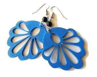 Blue Wooden Fan Earrings with Black Glass Beads