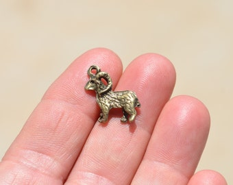 5  Bronze  Goat Ram Charms BC3763