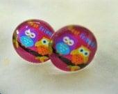 STUD EARRINGS Assortment - set of 3 pairs - Cute - owls - birdies - colorful dots