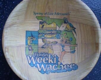 Rare HTF WEEKI WACHEE Bamboo Bowl  Florida Souvenir Bowl