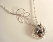 Nest Necklace Mothers Day Necklace Nest and Bird Lariat Silver Nest Mom Child Necklace Bird Jewelry