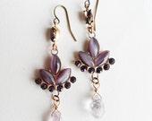Purple Rhinestone Dangle Earrings with Amethyst Gemstone Drop, Long, Crystals, Lotus, Brass