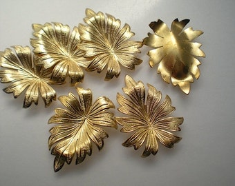 6 brass leaf charms, No. 1