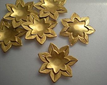 6 medium brass lotus flower charms