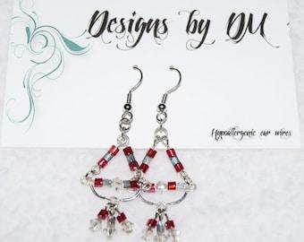 Pink, silver dangle earrings
