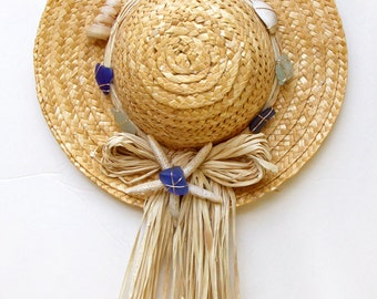 Beachy Straw Hat Door or Wall Decoration with Sea Glass in Colors of the Sea, Shells, and Faux Starfish