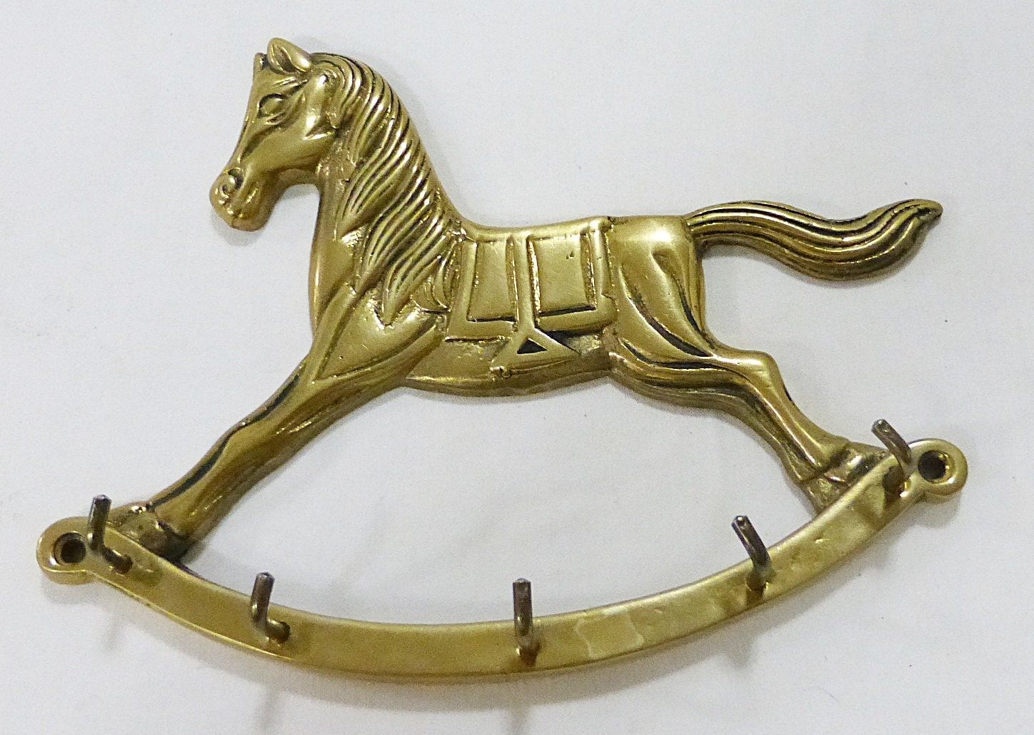 Brass key holder rocking horse wall hanging home decor vintage
