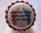 Baby Footprints ID Badge Reel with Pacifier Charm Peds OB Nursery NICU Mother Baby Postpartum using Swarovski Elements