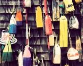 Hanging Buoys Photography, Nautical Home Decor, Seaside Art, Cape Cod Photograph, Coastal Art, Cottage New England, Colorful Bold Rustic