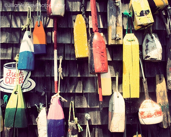 Hanging Buoys Photography, Nautical Home Decor, Seaside Art, Cape Cod Photograph, Coastal Art, Cottage New England, Colorful Bold Rustic