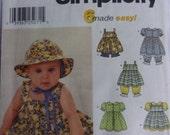 Simplicity 9784 Sewing Pattern Infants' Babies' Dress, Pinafore, Panties, Pantaloons and Sun Hat Size XS,  S,  M,  L, Baby Sun Hat Pattern