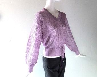Light Purple Silk Loose Knit V Neck Summer Top - Boho Blouse Drawstring Waist - Size Sm Med - 2 4 6 8