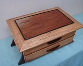 Beautiful, figured Copaiba graces the top of this elegant & spacious 2 drawer jewelry box