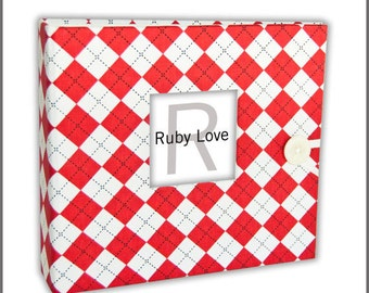 BABY BOOK | Red Argyle Album - Unique Baby Memory Book