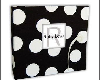 Black and White Large Polka Dot Album | Ruby Love Modern Baby Memory Book