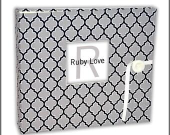 Gray and Black Lattice Album | Ruby Love Modern Baby Memory Book