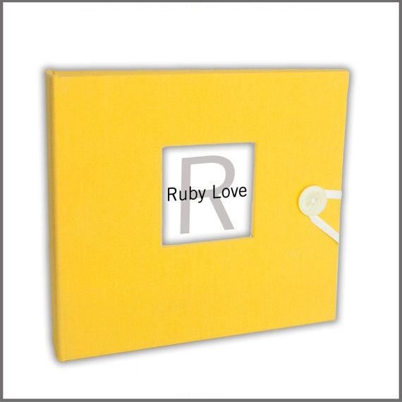 BABY BOOK | Solid Vibrant Yellow Organic Cotton Album - Ruby Love Baby Memory Book
