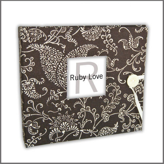 BABY BOOK | Chocolate Brown Paisley Album | Ruby Love Modern Baby Memory Book